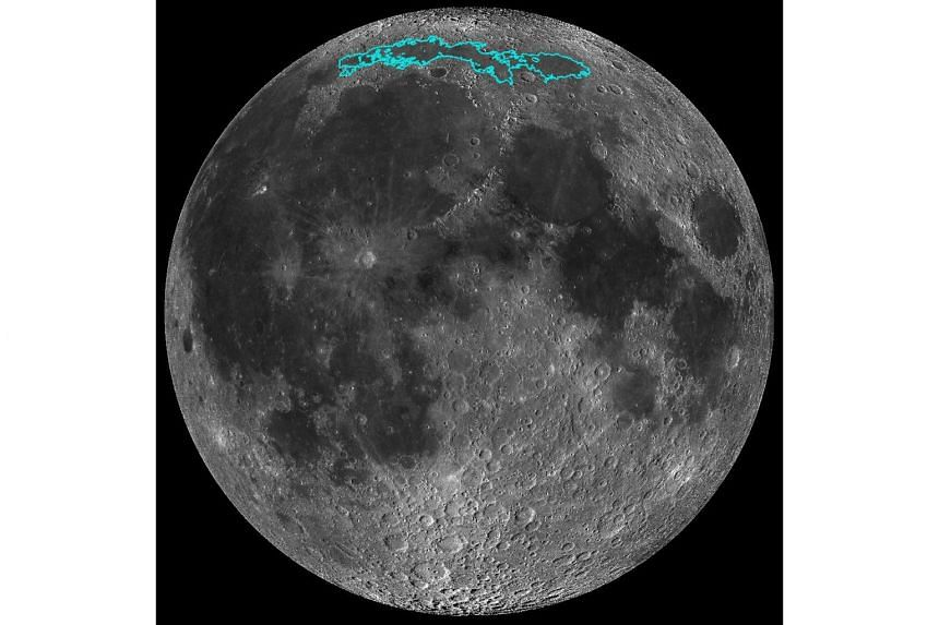 This image of the Moon, released by Nasa on May 13, 2019, shows new surface features (outlined in blue) of the Moon, which add to evidence that the Moon has an actively changing surface.