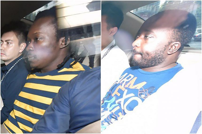 Nigerians Oladayo Opeyemi Awolola (left), 34, and Gbolahan Ayobami Awolola, 37, were each charged with one count of abetting others to receive stolen property.