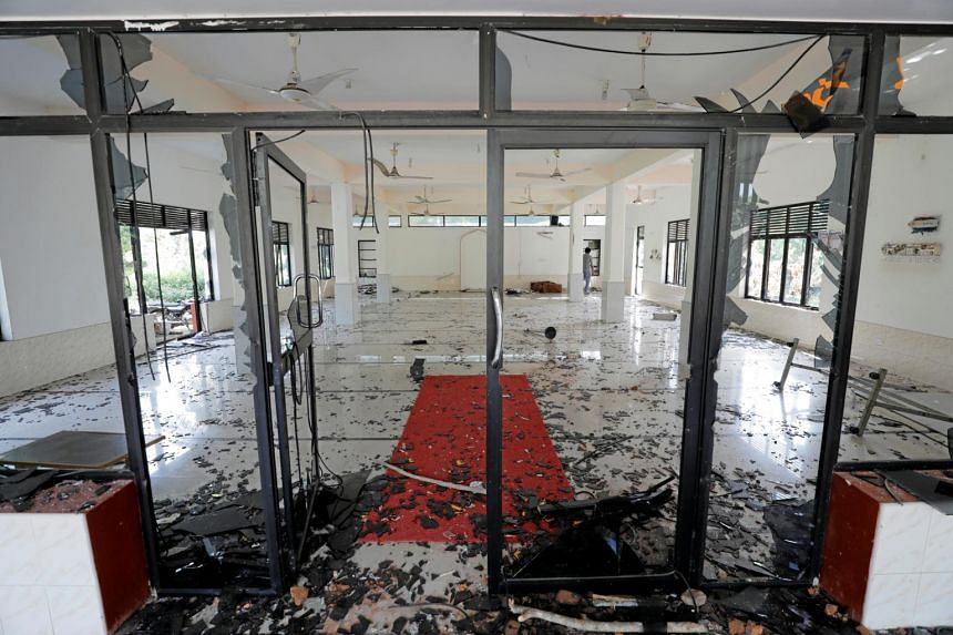 The aftermath of a mob attack on Abbraar Masjid in Kiniyama, Sri Lanka, on May 13, 2019.