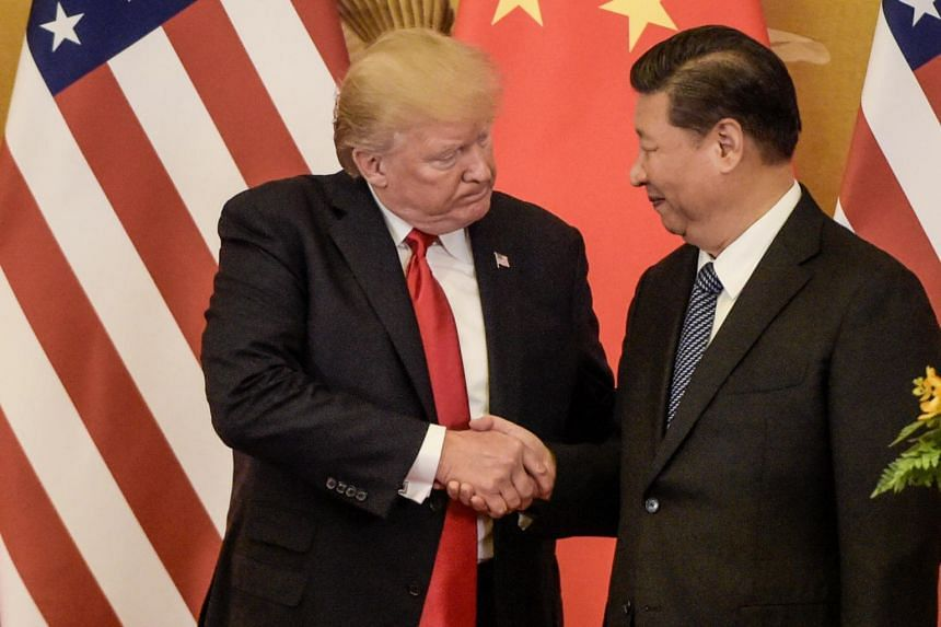 US President Donald Trump with China's President Xi Jinping at the end of a press conference at the Great Hall of the People in Beijing in November 2017.