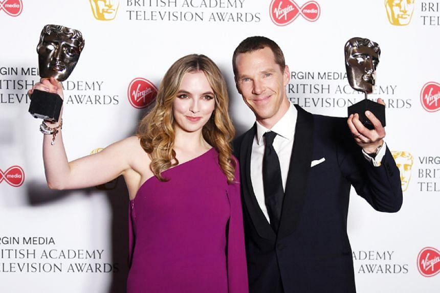 Jodie Comer (left) won best actress for her role in Killing Eve, while Benedict Cumberbatch (right) won best actor for Patrick Melrose.