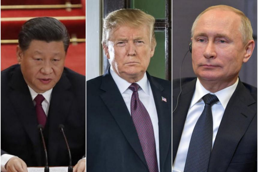 (From left) Chinese President Xi Jinping, US President Donald Trump and Russian President Vladimir Putin may meet at the G20 gathering in June.