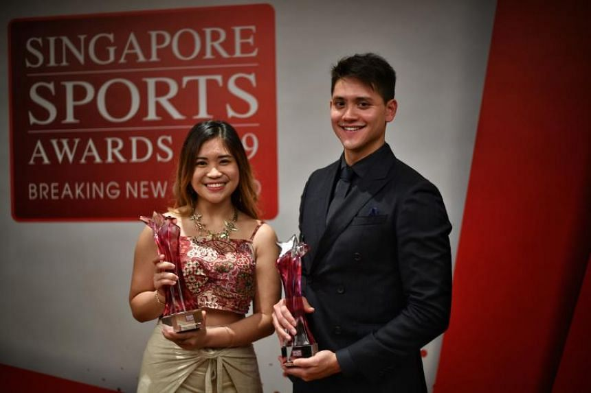 Sportswoman and Sportsman of the Year winners Martina Veloso (left) and Joseph Schooling.