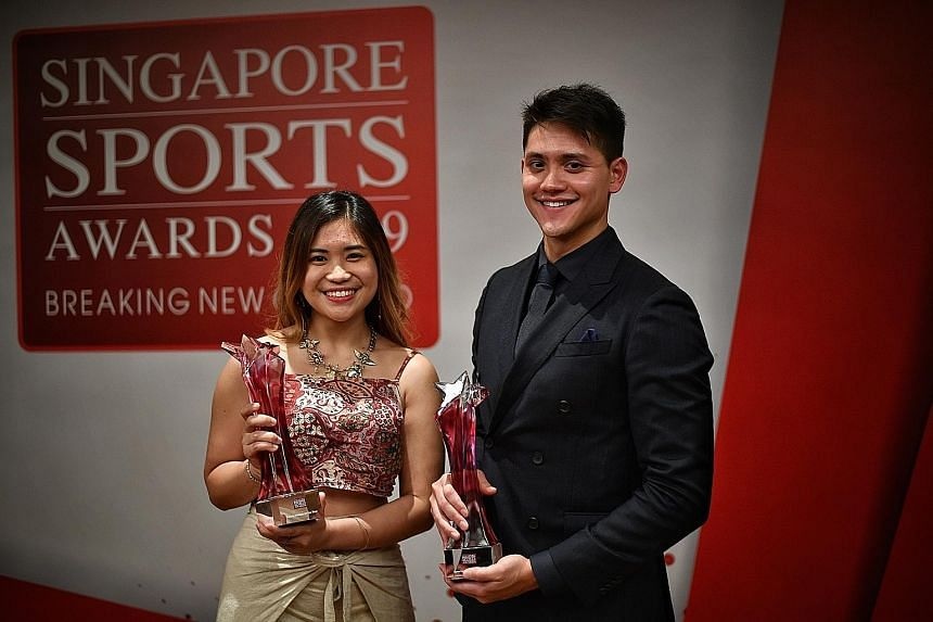 The winning feeling gets better each time for Sportsman of the Year Joseph Schooling, while it has not sunk in yet for first-time Sportswoman of the Year Martina Veloso. ST PHOTO: ARIFFIN JAMAR