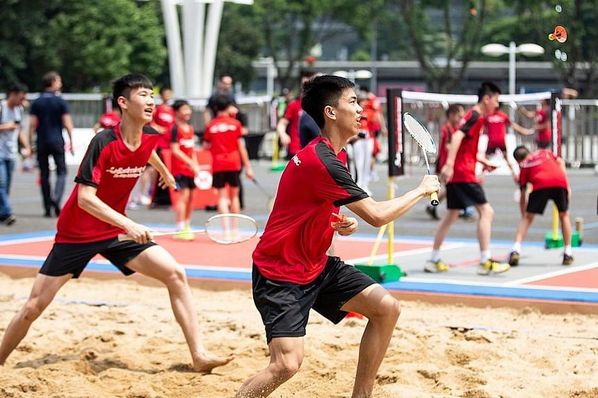 AirBadminton, using the new AirShuttle shuttlecock, can be played on hard, grass and sand surfaces outdoor. PHOTO: FACEBOOK/BWF