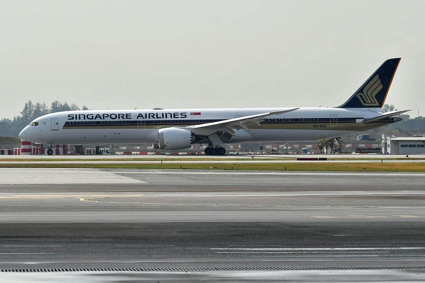 A Singapore Airlines airplane at JetQuay CIP Terminal.