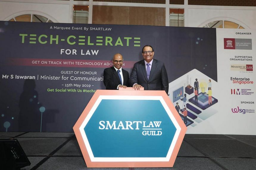 Law Society of Singapore president Gregory Vijayendran (left) with Minister for Communications and Information S. Iswaran at the launch of the SmartLaw Guild at the InterContinental Singapore, on May 15, 2019.
