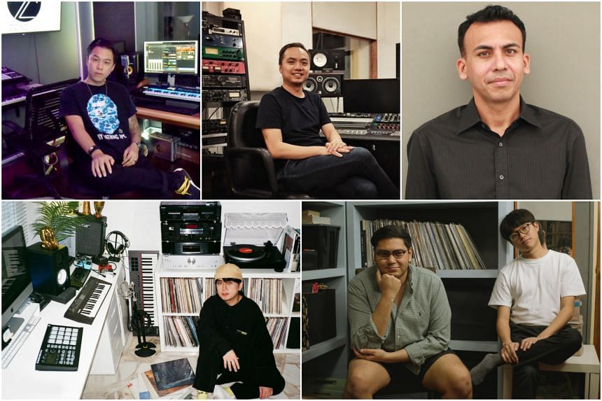 (Clockwise from top left) Jon Chua, Founder of Zendyll Records, Kevin Foo, co-founder of Umami Records, Dean Augustine, founder of Cross Ratio Entertainment, Nigel Joseph Lopez (left) and Raphael Michael Ong, who run local indie pop record label Midd
