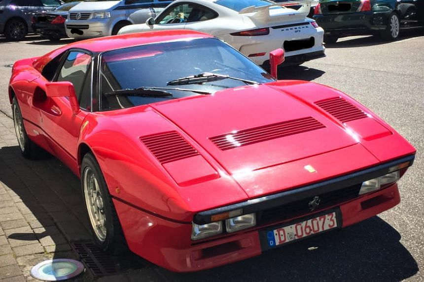 A handout photo made available by the Duesseldorf Police Department showing a stolen Ferrari 288 GTO after a reported theft and a subsequent seizure in Grevenbroich, Germany, on May 13, 2019.