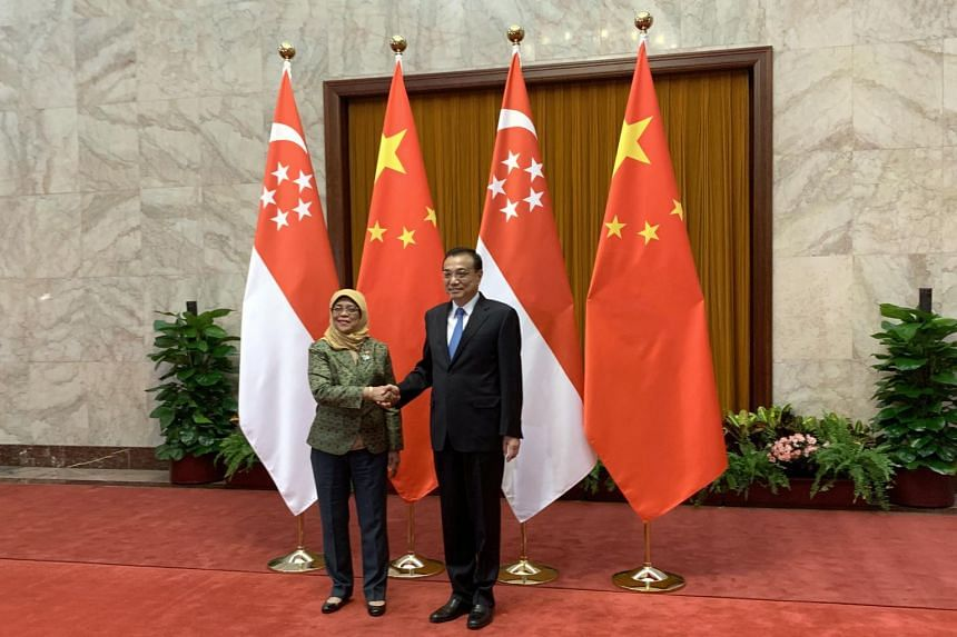 President Halimah Yacob meeting Chinese Premier Li Keqiang at the Great Hall of the People in Beijing, on May 15, 2019.