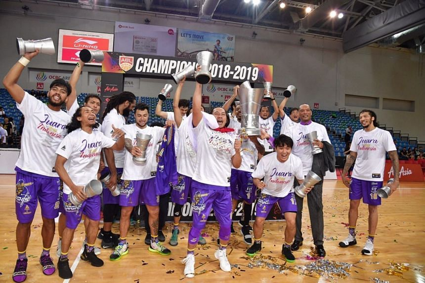 CLS Knights Indonesia celebrating after winning the Asean Basketball League Finals title decider.