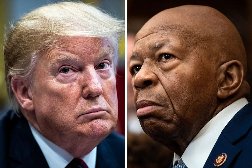 President Donald Trump (left) and House Oversight and Reform Committee chairman Elijah Cummings. Mr Cummings wanted to review the agreements to determine whether they include legally required language about protections for whistleblowers who cooperat
