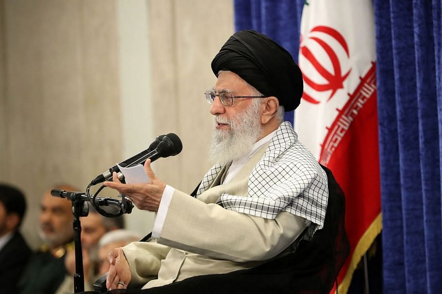 Iranian Supreme Leader Ayatollah Ali Khamenei speaking during a ceremony in Teheran, Iran, May 14, 2019. Media reports say that the Iranian Supreme Leaders says there will be no war between Iran and US.