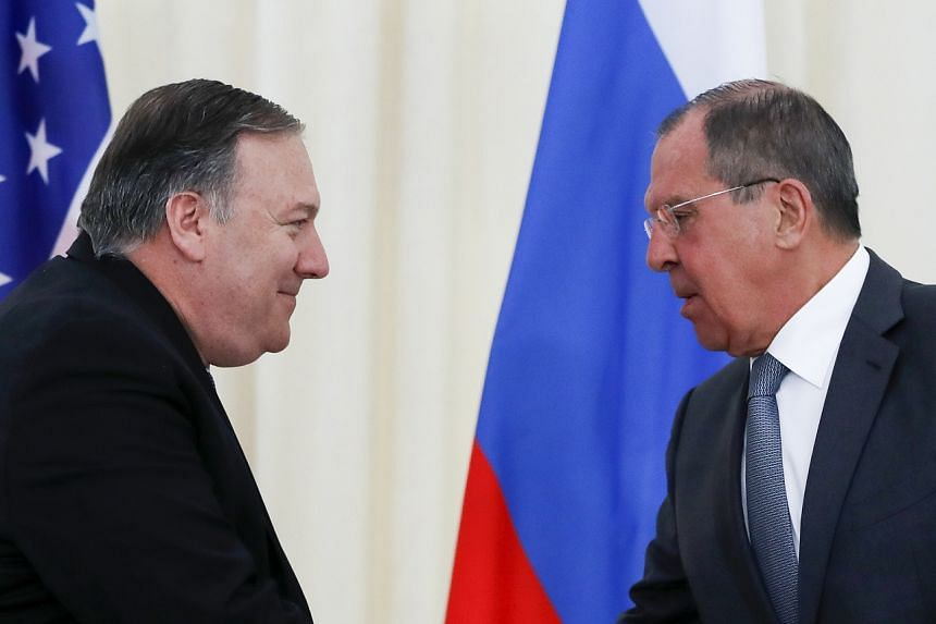 US Secretary of State Mike Pompeo (left) and Russian Foreign Minister Sergei Lavrov after their joint news conference following their talks in the Black Sea resort city of Sochi, southern Russia, May 14, 2019.