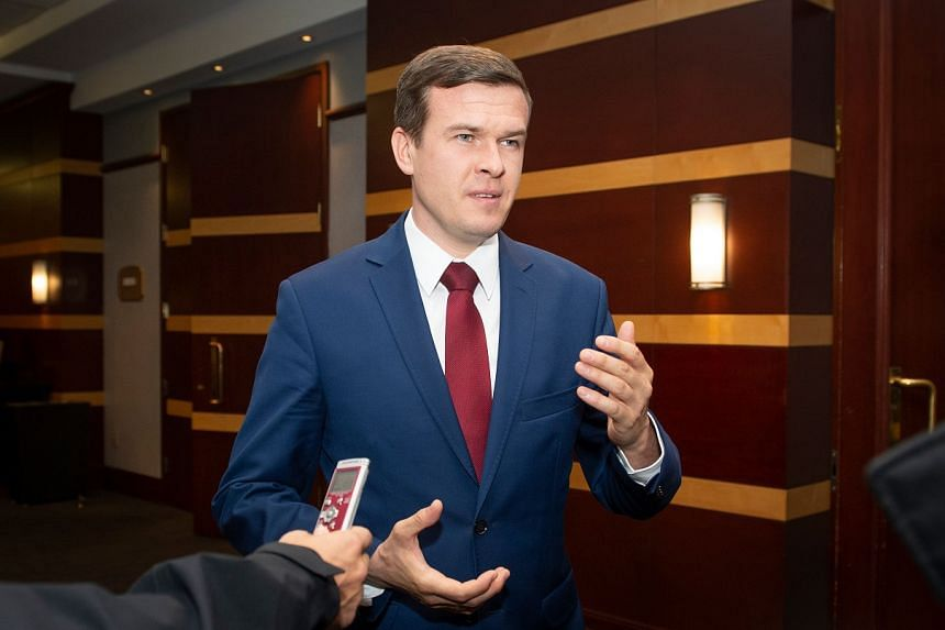 Polish Minister of Sports and Tourism Witold Banka speaks to the press in Montreal on May 14, 2019, during a World Anti-Doping Agency.