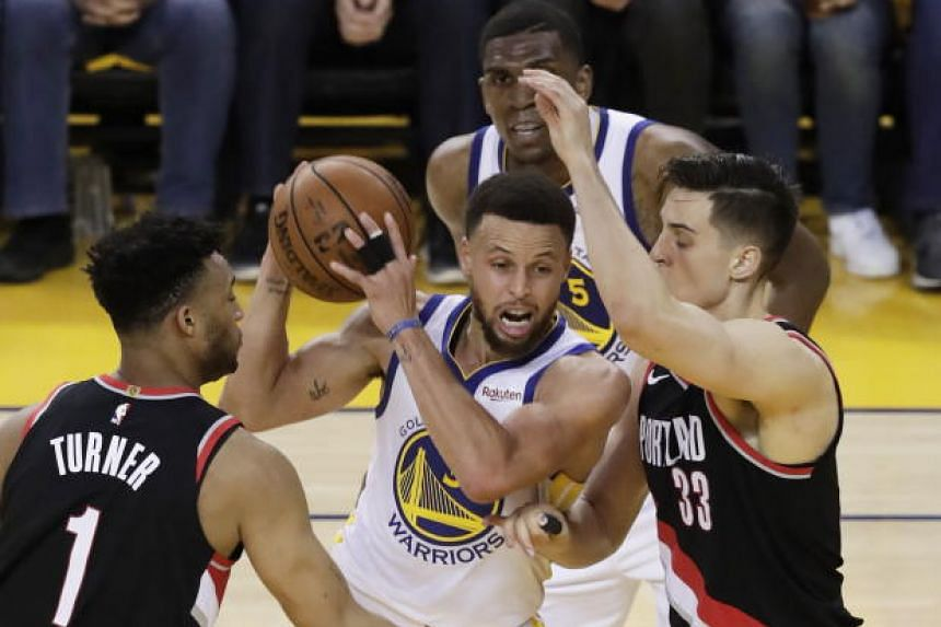 Stephen Curry scored 36 points and provided seven assists as the Golden State Warriors beat the Portland Trail Blazers 116-94 in game one of the NBA Western Conference finals.