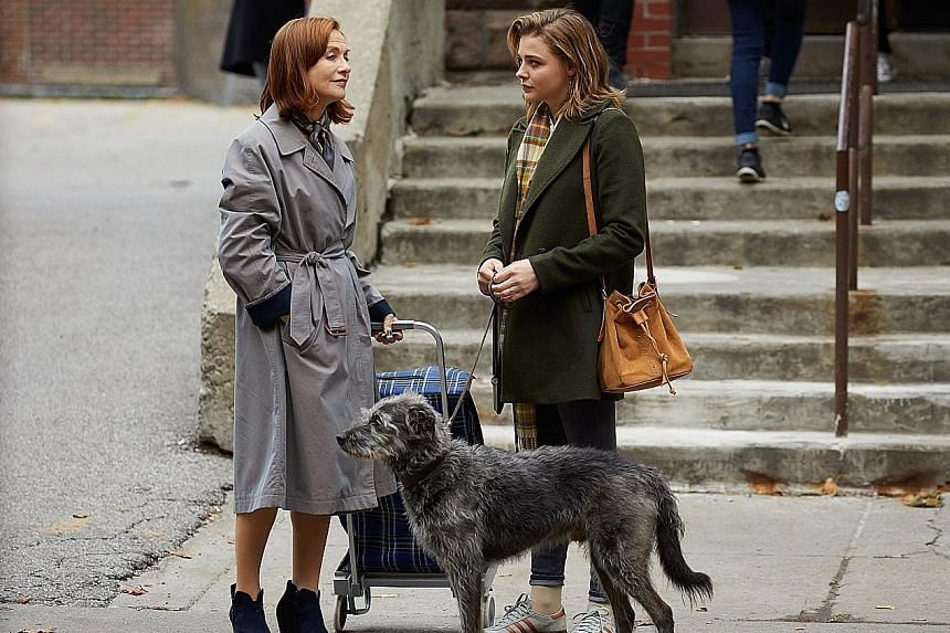 In Greta, Isabelle Huppert (left) plays an older woman who becomes obsessed with a young waitress played by Chloe Grace Moretz.