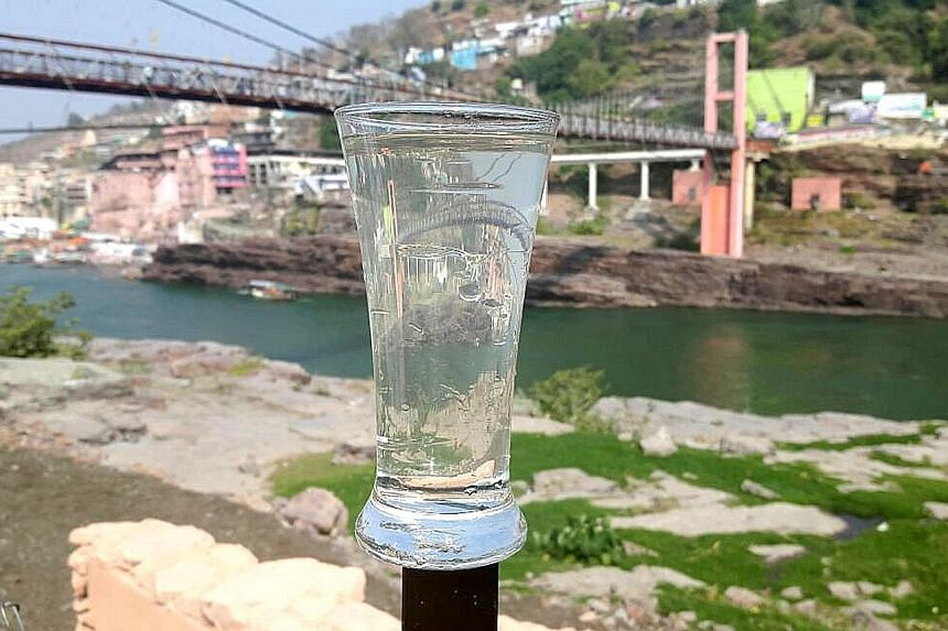 Clean water from the Narmada River, which supports the water needs of around 75 million people in the Indian state of Madhya Pradesh. Before Singapore social enterprise Ecosoftt installed a water reclamation system in 2014, the river was heavily poll