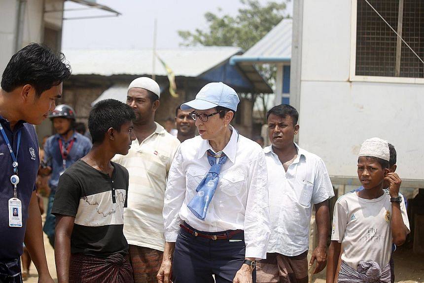 Ms Ursula Mueller, UN assistant secretary-general for humanitarian affairs, visiting the Dar Pyi Internally Displaced Persons Camp in Sittwe, Rakhine state, Myanmar, on Monday.