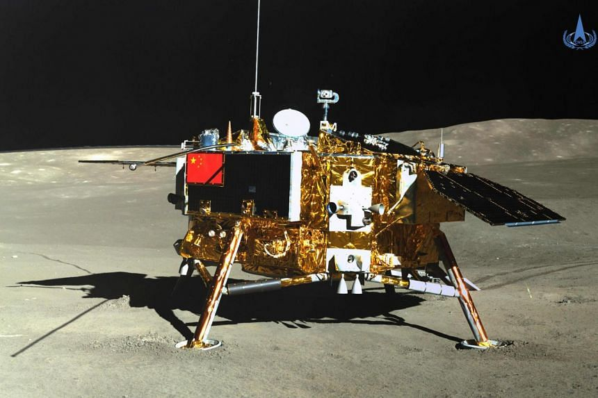 The Chang'e-4 lunar probe, taken by the Yutu-2 moon rover, on the far side of the Moon on Jan 11, 2019.