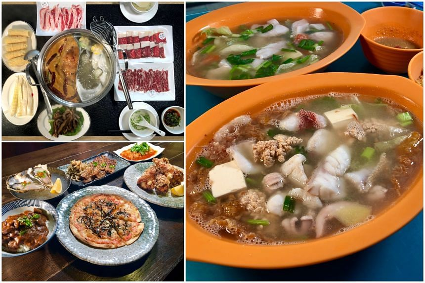 (Clockwise from top left) Chaoshan-style beef hot pot at Chaoniu Hot Pot,  Sliced Red Garoupa Soup at Teochew Fish Porridge and the new menu at Sumire Yakitori House.