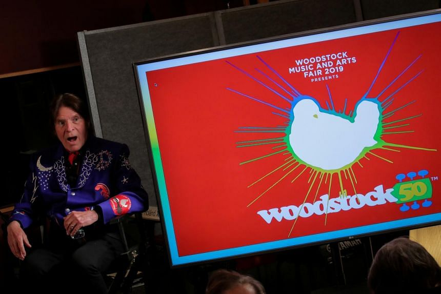 Singer John Fogerty speaks during the announcement event for the lineup for the Woodstock 50th Anniversary concert on March 19, 2019.