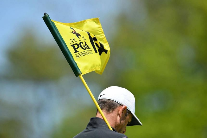 A flag on a green is seen during a practice round prior to the 2019 PGA Championship at the Bethpage Black course in Farmingdale, New York, on May 15, 2019.