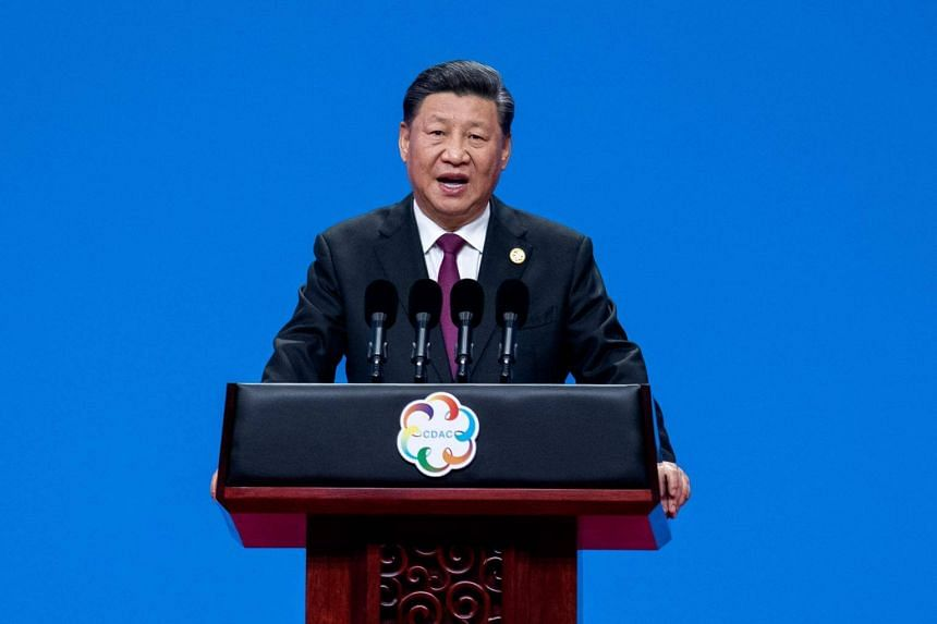 Chinese president Xi Jinping delivers a speech during the opening ceremony of the Conference on Dialogue of Asian Civilizations at the National Convention Center in Beijing, on May 15, 2019.