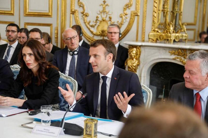 The call was initiated by New Zealand Prime Minister Jacinda Ardern (left) and French leader Emmanuel Macron (centre) to avoid a repeat of the Christchurch killings, which were broadcast live by the gunman on Facebook for 17 minutes.