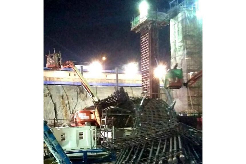 Two rebar cages toppled at the East Coast Integrated Depot worksite on May 15, 2019.