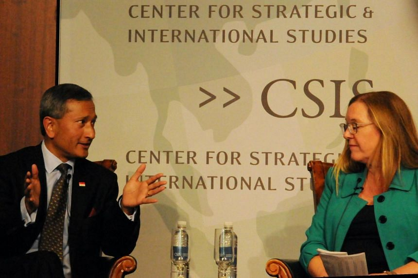 Foreign Minister Vivian Balakrishnan with Dr Amy Searight, director of the South-east Asia Programme at CSIS in Washington on May 15, 2019.