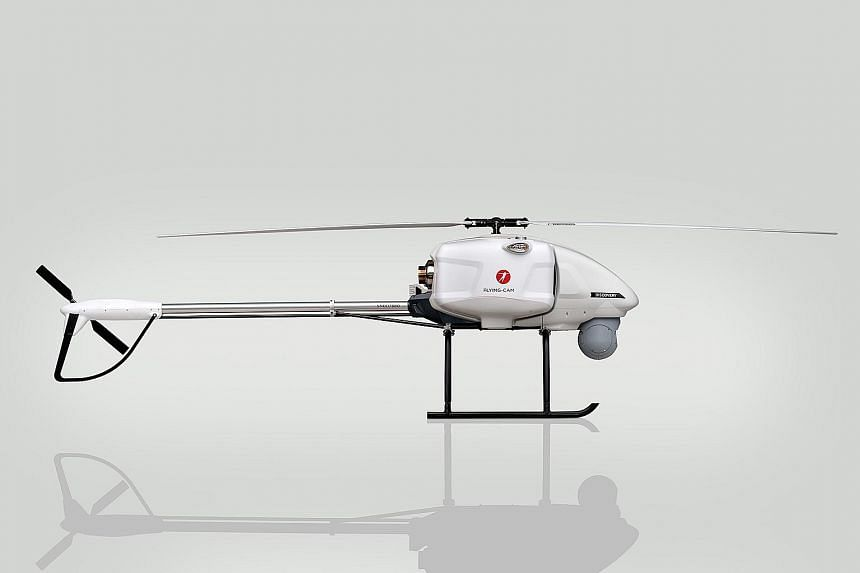 The Discovery unmanned helicopter by Belgian company Flying-Cam was showcased at the International Maritime Defence Exhibition and Conference Asia. The helicopter is about 3m long, with a cruising speed of about 25m per second.