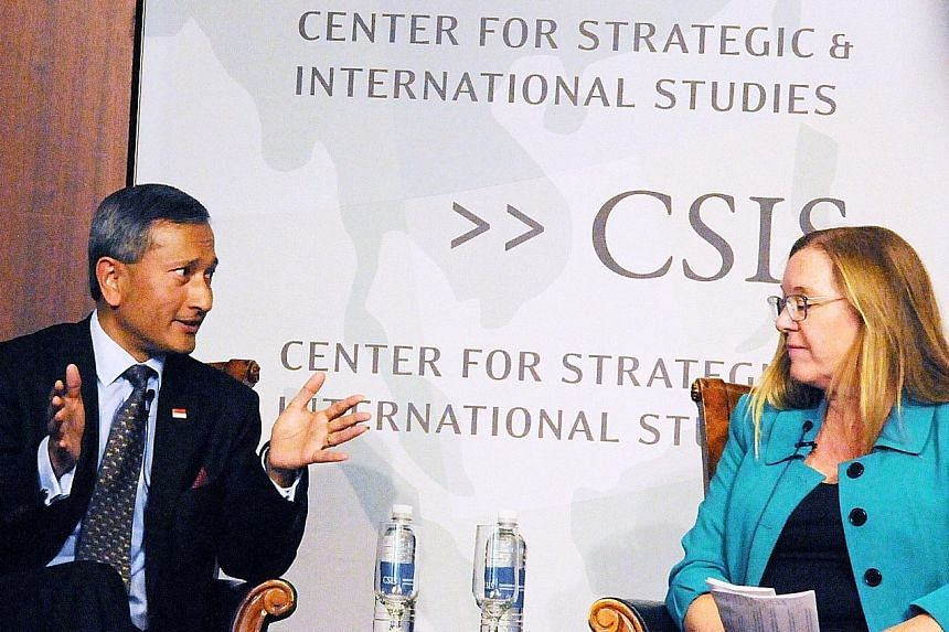 Foreign Minister Vivian Balakrishnan with Dr Amy Searight, director of CSIS' South-east Asia Programme, at the Centre for Strategic and International Studies in Washington. Dr Balakrishnan said South-east Asian nations, which are at the intersection