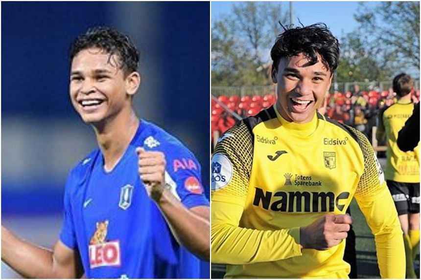 Brothers Irfan (left) and Ikhsan Fandi scored again for their respective clubs, BG Pathum United and Raufoss IL.
