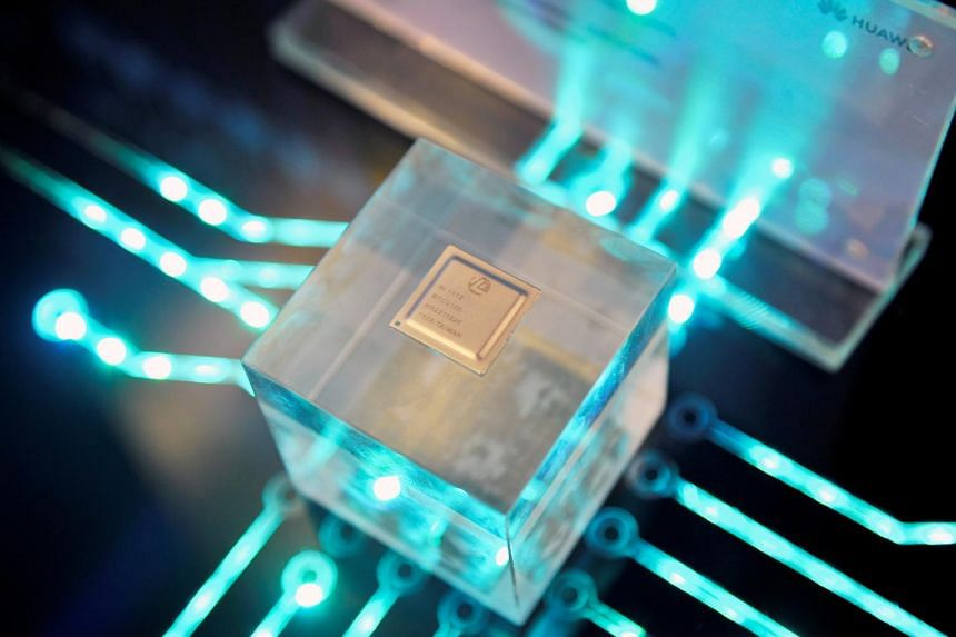 A chip by Huawei's subsidiary HiSilicon on display. The company said it has long been prepared for a possible ban from purchasing US chips and technology, and is able to ensure steady supply of most products.