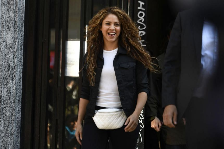 Colombian singer Shakira leaving a court in Madrid, Spain, on March 27, 2019.