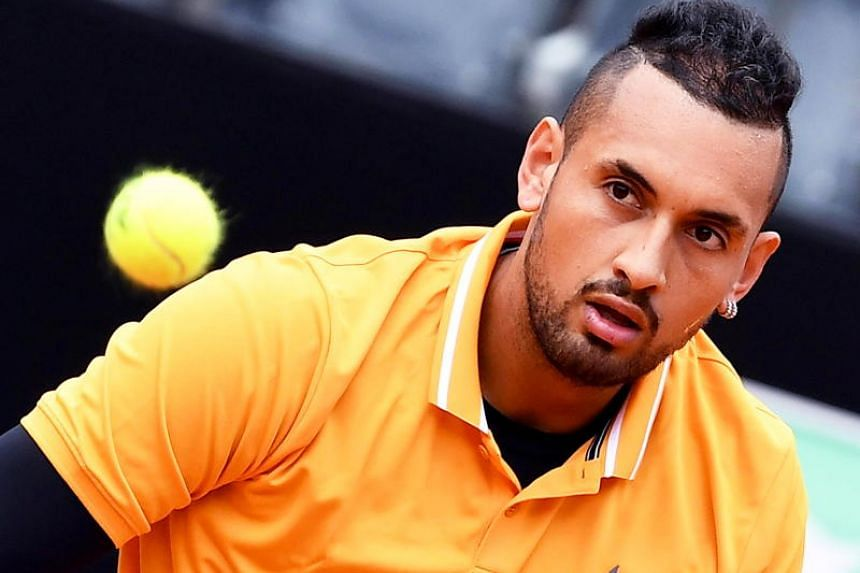 Nick Kyrgios in action against Daniil Medvedev of Russia during their men's singles first round match at the Italian Open tennis tournament in Rome, Italy, on May 14, 2019.