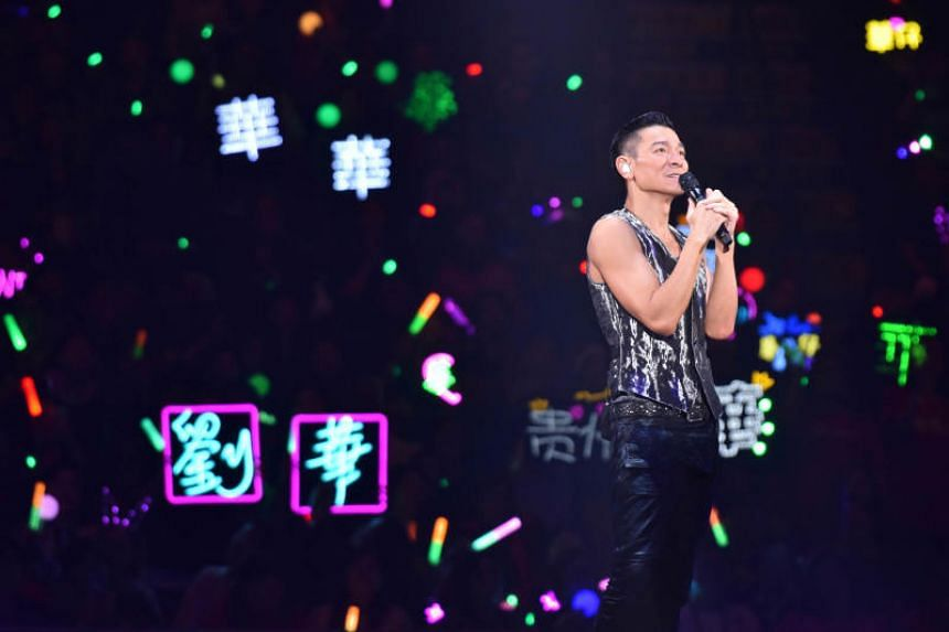 Andy Lau performing at the Hong Kong Coliseum in December 2018, as part of his My Love Andy Lau World Tour.