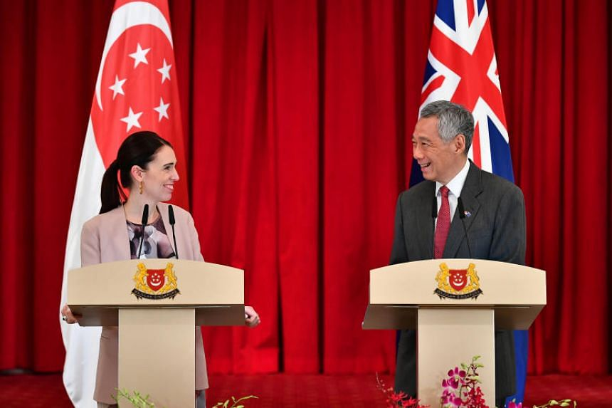 Prime Minister Lee Hsien Loong with New Zealand Prime Minister Jacinda Ardern at a joint press conference during Ms Ardern's official visit to Singapore on May 17, 2019.