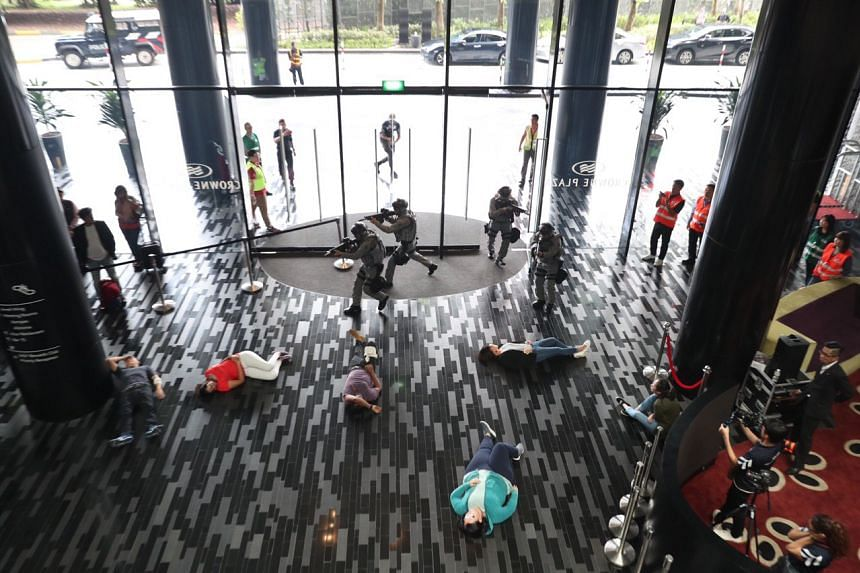 About 50 personnel from the Singapore Police Force, the Singapore Civil Defence Force and Crowne Plaza Changi Airport were involved in Exercise Heartbeat, which simulates terror attacks, on May 17, 2019.
