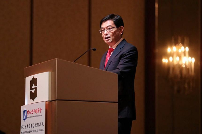 Deputy Prime Minister Heng Swee Keat delivering his speech at the Singapore-China Business Association 30th Council Installation Ceremony on May 17, 2019.