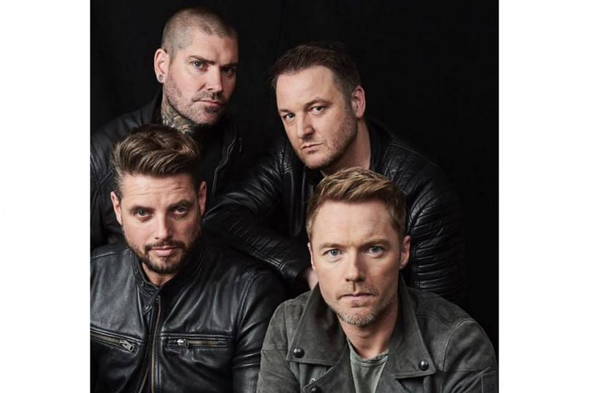 Members of Boyzone (clockwise from top left) Shane Lynch, Mikey Graham, Ronan Keating and Keith Duffy.