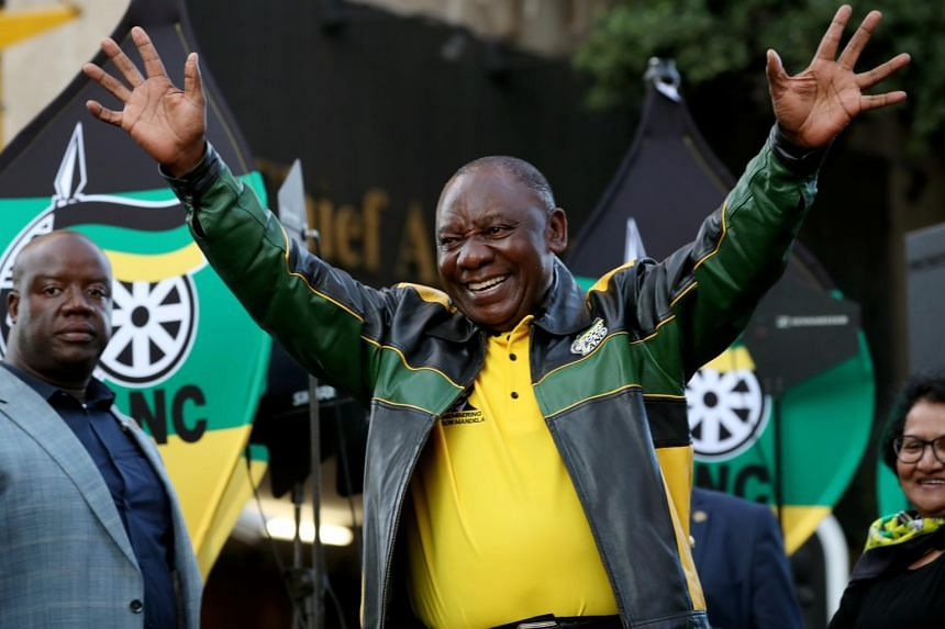 South African President Cyril Ramaphosa waves to supporters of his ruling African National Congress at an election victory rally in Johannesburg, South Africa, on May 12, 2019.