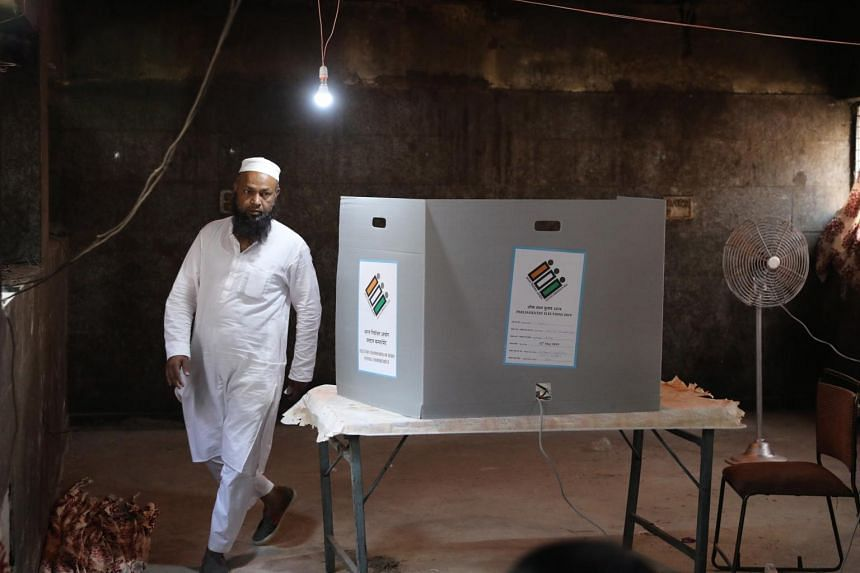 An man leaves after casting his vote during the sixth phase of the Indian parliamentary election in New Delhi, India, on May 12, 2019.