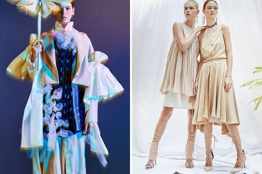 The childrenswear and menswear collection by Lasalle student Ng Jia Min, 22, explores Singapore's identity and reflects its kaleidoscope of different cultures and ethnicities. Lasalle student Sandy Ong, 22, wanted to create a zero-waste collection. H