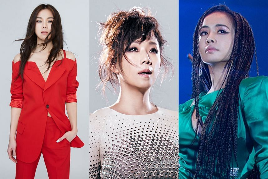 While home-grown singer-songwriter Tanya Chua (above) was nominated only in the Best Composer category, Hong Kong diva Sandy Lam (below left) and Taiwanese singer Jolin Tsai (below right) received the most nominations - seven each.