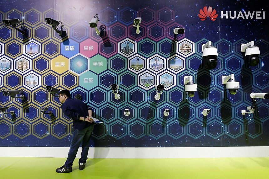 Surveillance cameras on display at the Huawei booth at the World Intelligence Congress in Tianjin, China, on Thursday. The latest US move comes as the Trump administration aggressively lobbies other countries not to use Huawei equipment in next-gener