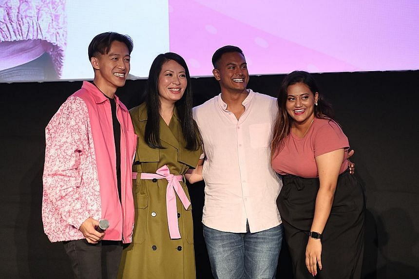"(From left) Actor Tosh Zhang with fellow Pink Dot 11 ambassadors - actress and theatre director Beatrice Chia-Richmond, rapper Subhas Nair and prominent local YouTuber of ""Preetipls"" fame Preeti Nair. Zhang's discriminatory tweets from 2010 to 2013 s"