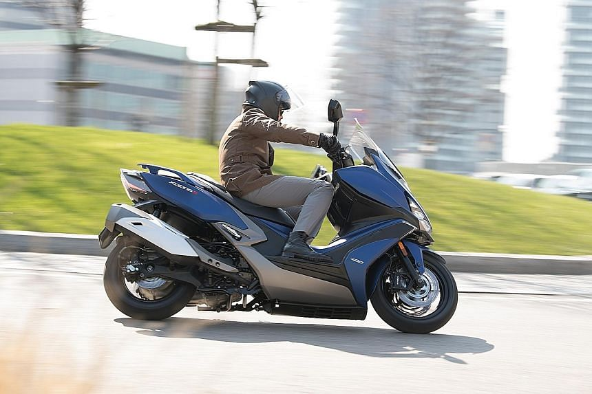 Unlike most other maxi-scooters, Kymco's Xciting S400 has foot pegs that are located towards the rear and allow the rider to be comfortably positioned.