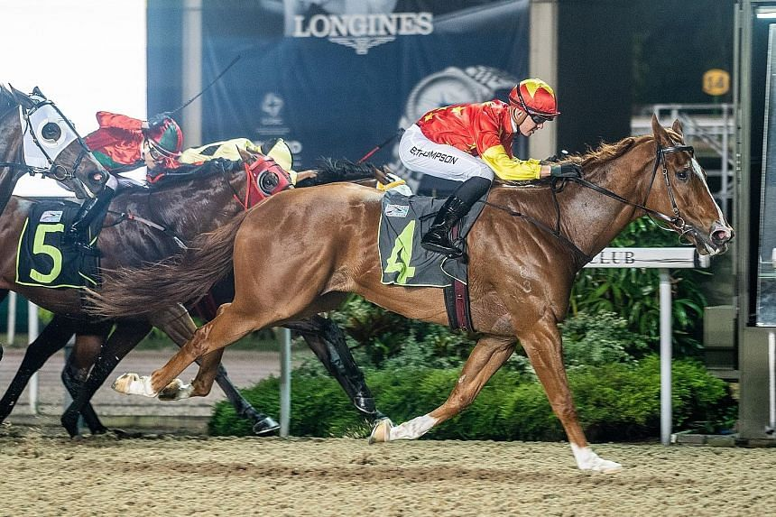 Skywalk returning triumphant for his eighth success in Race 6 at Kranji last night after a break.